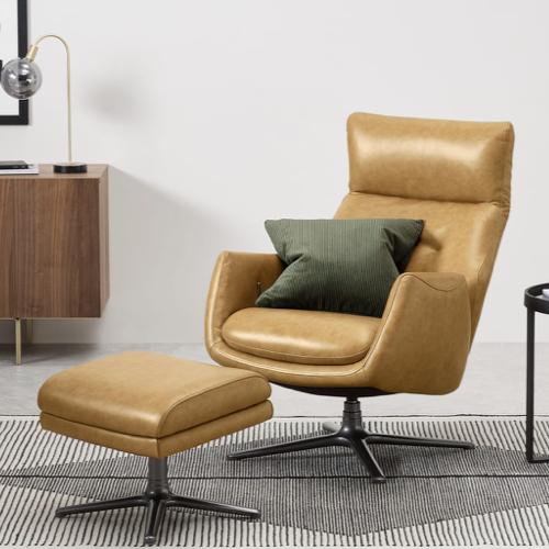 deco et meuble style masculin salon fauteuil vintage cognac camel repose pied