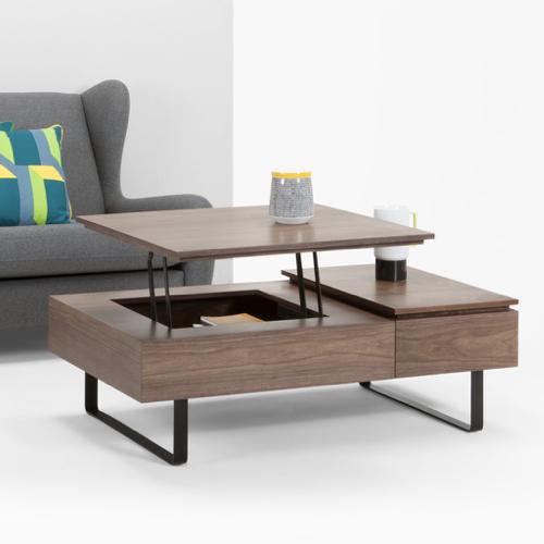 deco et meuble style masculin salon table basse rectangulaire fonctionnelle bois et métal
