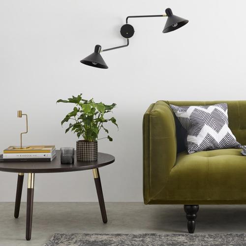deco et meuble style masculin salon applique murale sur bras articulé noir et laiton