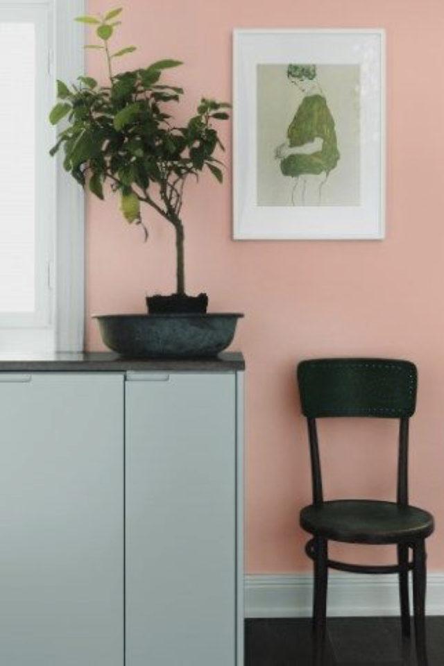 deco interieure vert et rose exemple salon séjour salle à manger entrée meuble association couleur