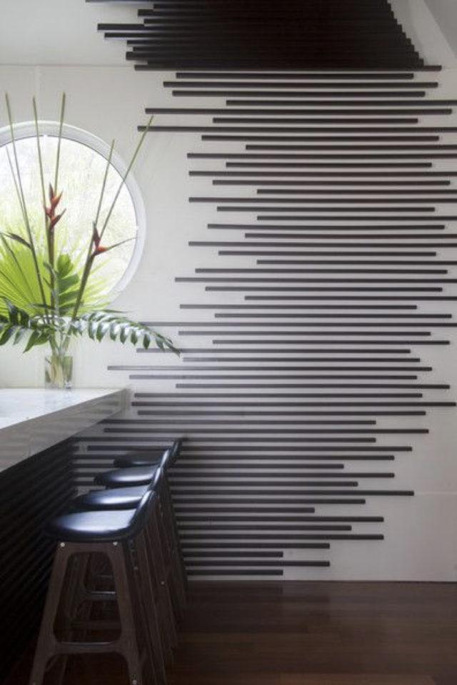 deco murale pas cher masking tape exemple séparation espaces ouverts cuisine séjour décor mur et plafond graphique noir