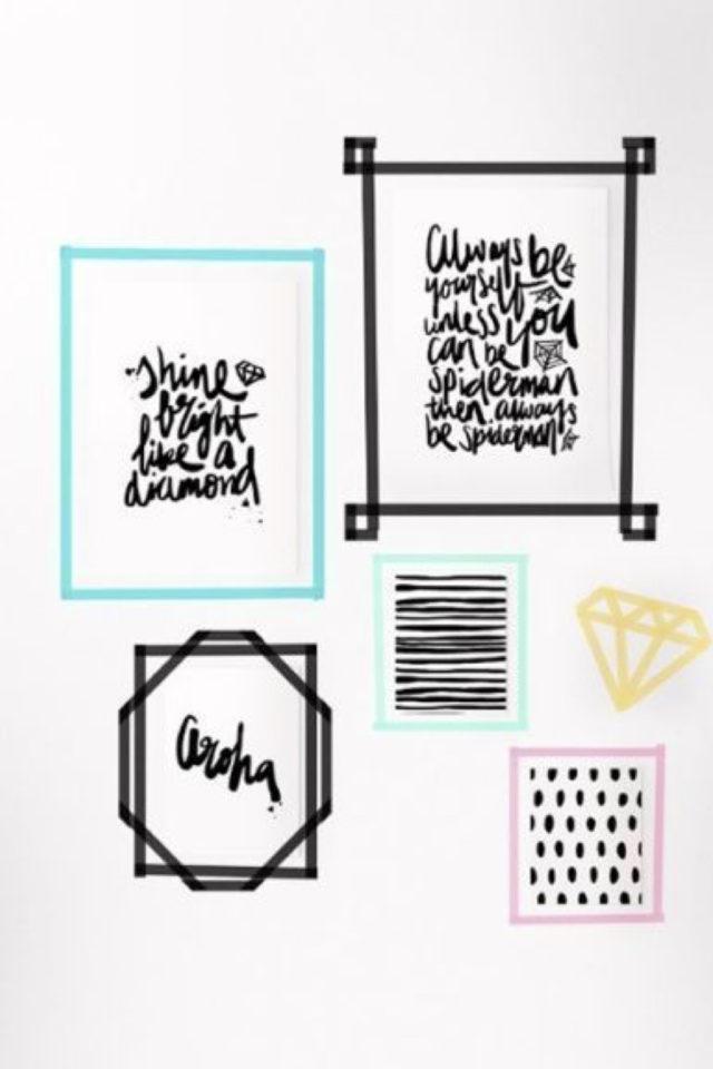 deco murale pas cher masking tape exemple alternative cadres typographie couleur ambiance moderne et jeune