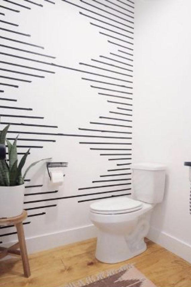 deco murale pas cher masking tape exemple decor mur de toilette noir graphique géométrique losange