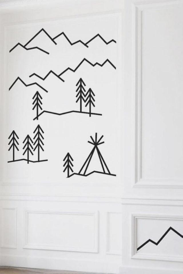deco murale pas cher masking tape exemple paysage simplifié montagne sapin mur blanc facile à reproduire