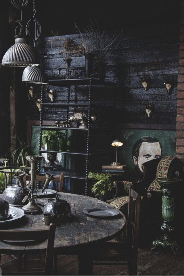 deco rock cabinet curiosite exemple ambiance salon séjour salle à manger