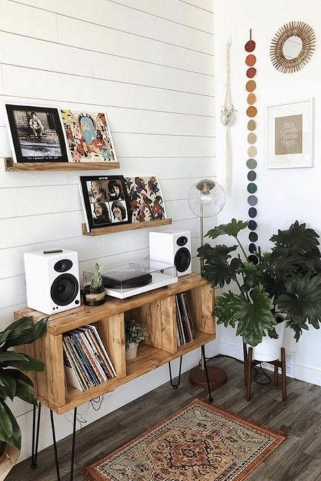 decor mural pas cher exemple musique vinyle pochette album étagère chaine hifi