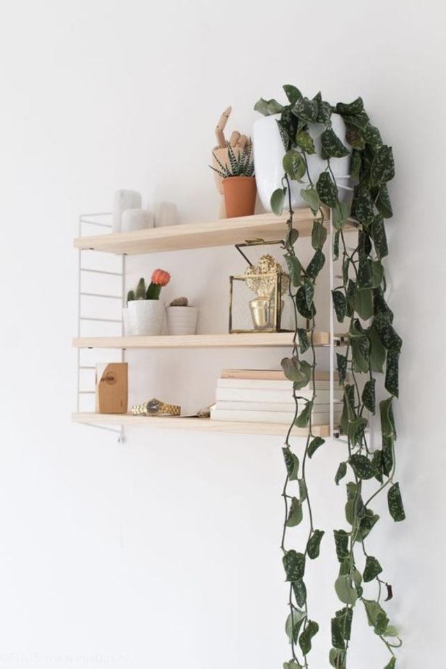 decoration etagere murale bois étagères string petit modèle blanc et bois