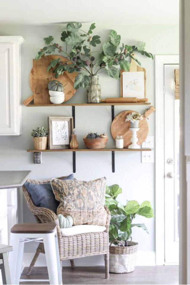 decoration etagere murale bois petit modèle plante et décoration salon séjour balcon