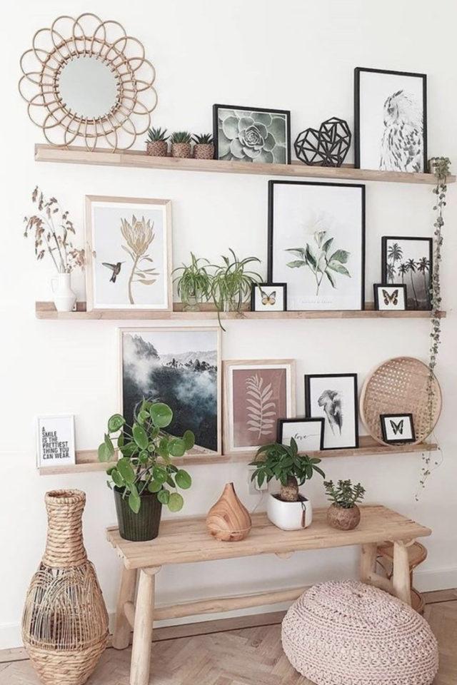 decoration etagere murale bois moderne cadres déco mur facile