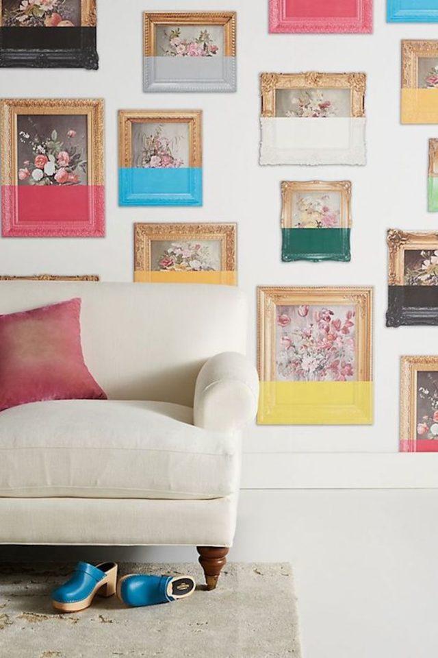 decoration murale pas cher DIY cadre classique peinture originale salon séjour couleur