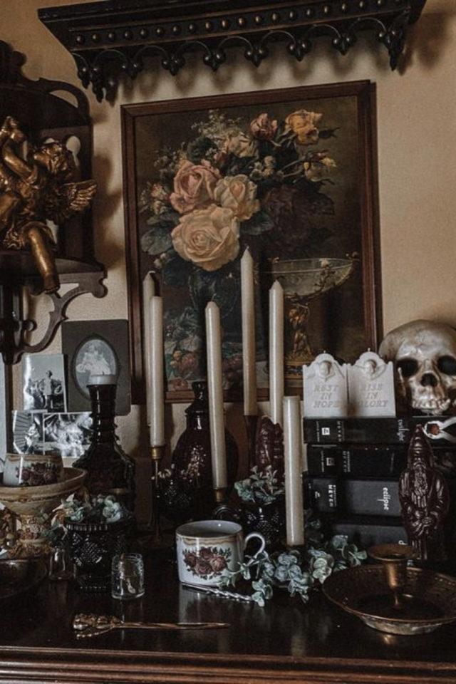 decoration style rock memento mori bougie vanité crâne