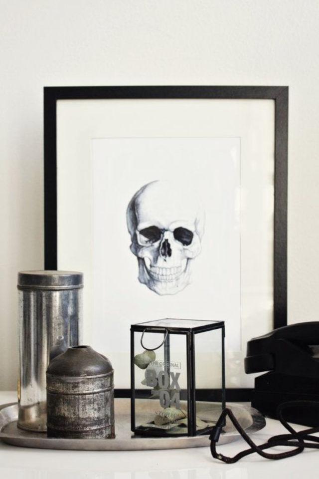 decoration style rock memento mori symbolisme impermanence cadre illustration crâne