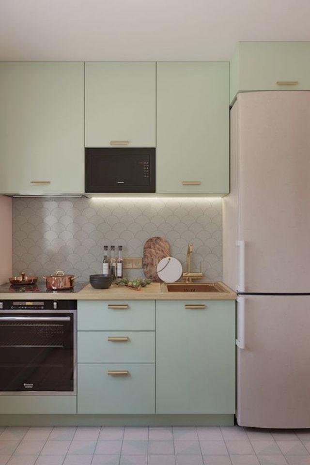 exemple choix couleur petite cuisine pastel vert et rose douceur