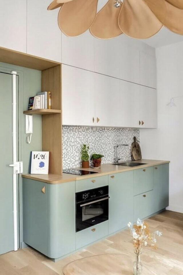 exemple choix couleur petite cuisine céladon blanc et bois moderne