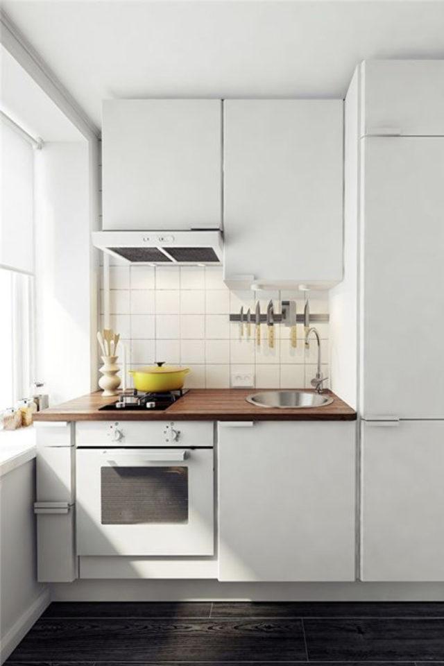exemple choix couleur petite cuisine blanc et bois simple