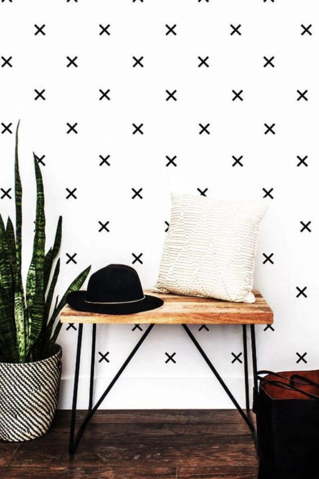exemple deco masking tape pas cher DIY facile à faire soi même petite croix noires décor scandinave nordique moderne