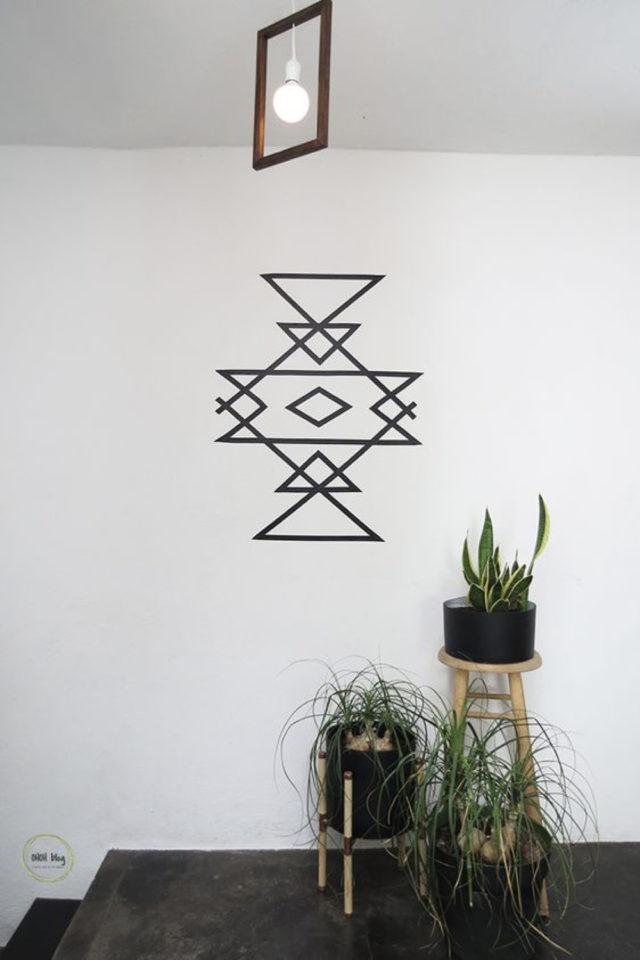 exemple deco masking tape pas cher motif ethnique noir et blanc géométrique DIY moderne