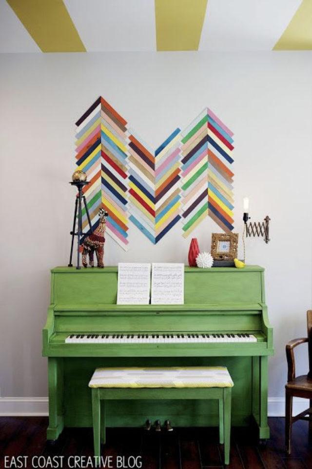 exemple deco masking tape pas cher piano vert motif chevron multicolore