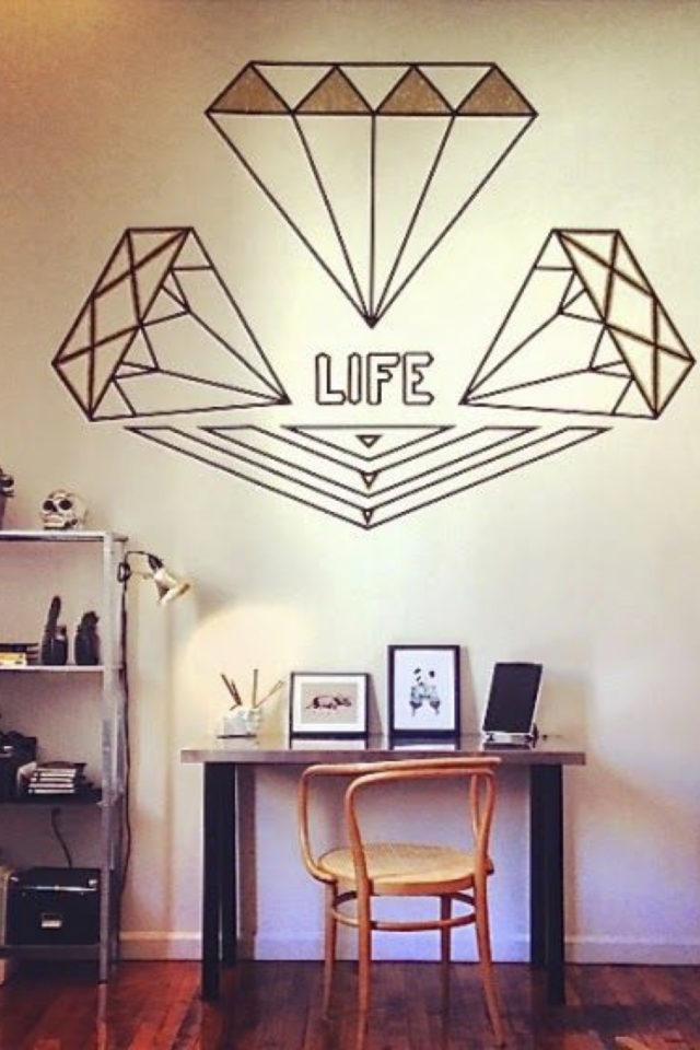 exemple deco masking tape pas cher diamant message life chambre adolescente bureau location appartement