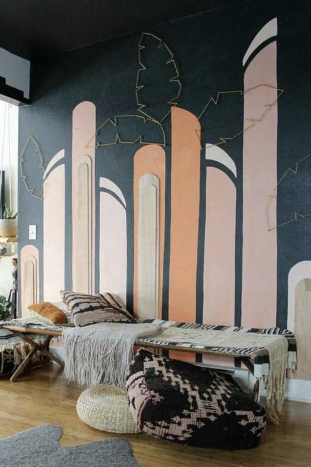 exemple peinture murale originale mur très sombre et détail couleur plus vive graphique moderne et élégant