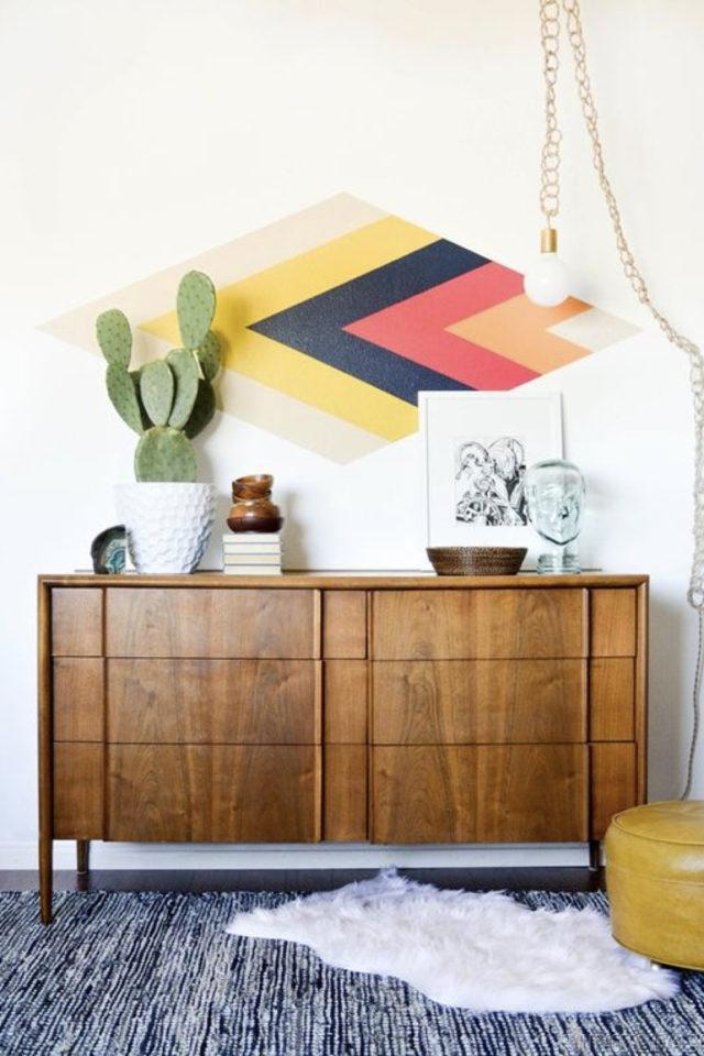 exemple peinture murale originale dessus de buffet enfilade mid century vintage losange jaune noir orange