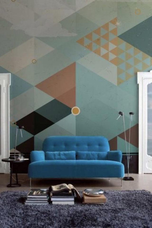exemple peinture murale originale triangles vert multicolore effet papier peint salon séjour canapé graphique moderne frais