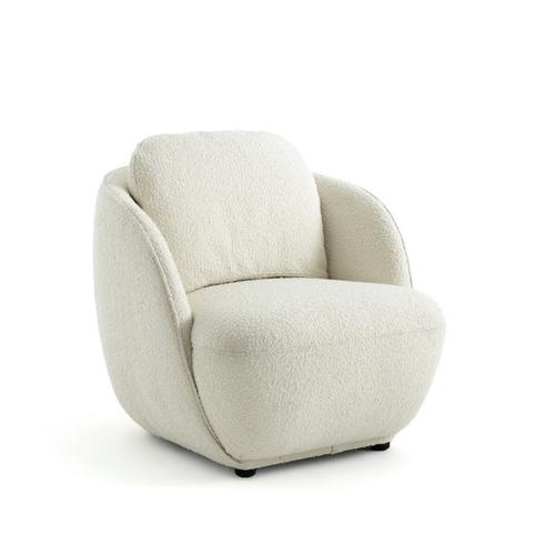 fauteuil courbe tendance slow chic écru beige bouclette petit modèle