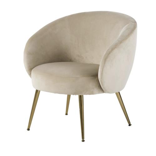 fauteuil courbe tendance slow chic vintage velours beige marron glacé clair