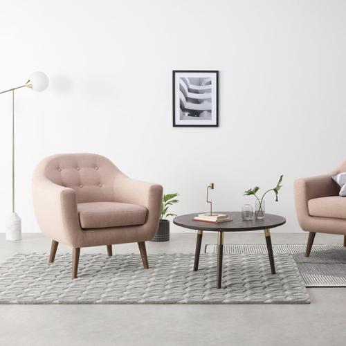 fauteuil salon vert rose style classique scandinave confortable