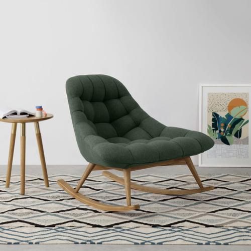 fauteuil salon vert rose à bascule style rétro et moderne