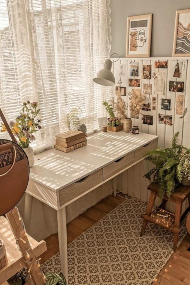 interieur aesthetic fenetre deco bureau bois déco murale carte postale et illustration voilage bohème