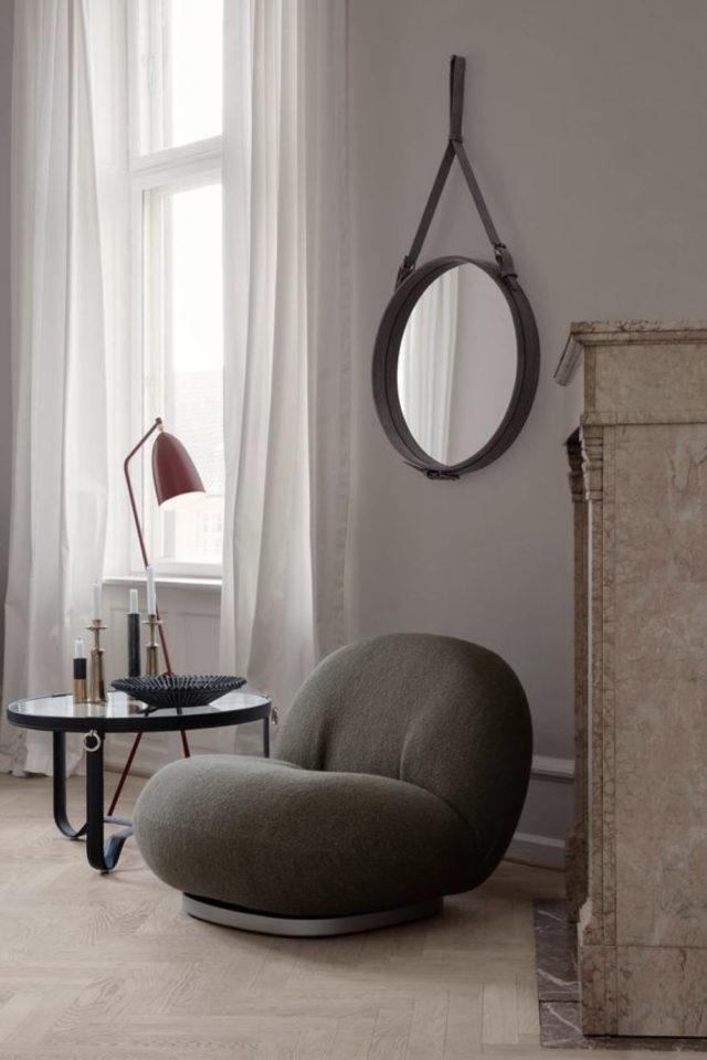 interieur fauteuil design courbes gris sobre salon séjour