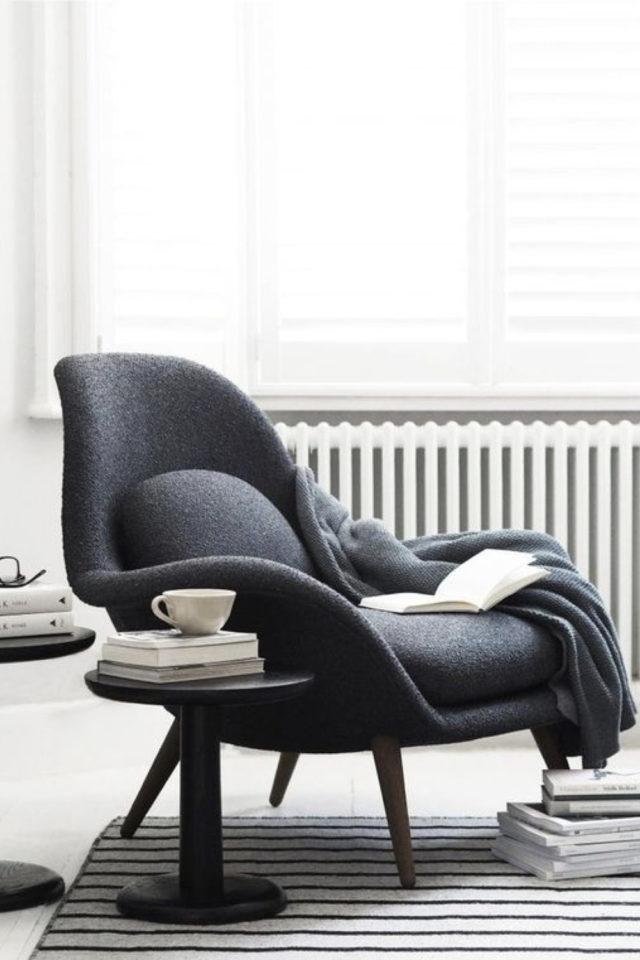 interieur fauteuil design courbes gris anthracite