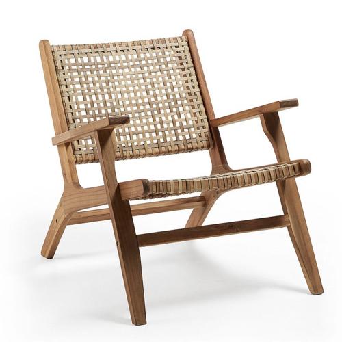 jardin tropical exemple mobilier fauteuil bois et osier moderne