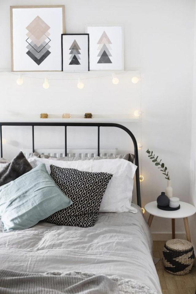 lit double metal decoration chambre blanche moderne jeune couleur neutre