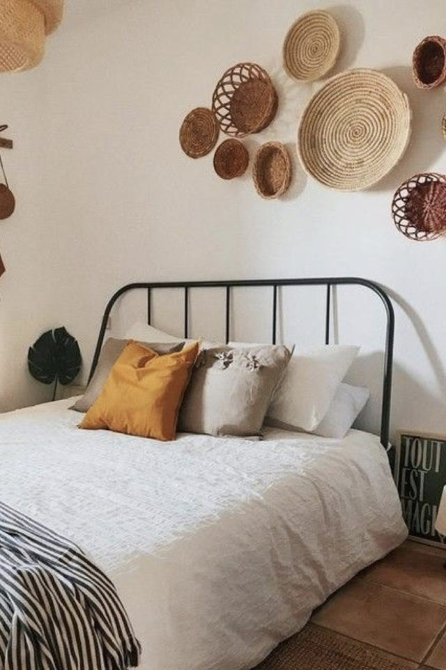 lit double metal decoration chambre style bohème scandicraft panier corbeille murale couleur neutre