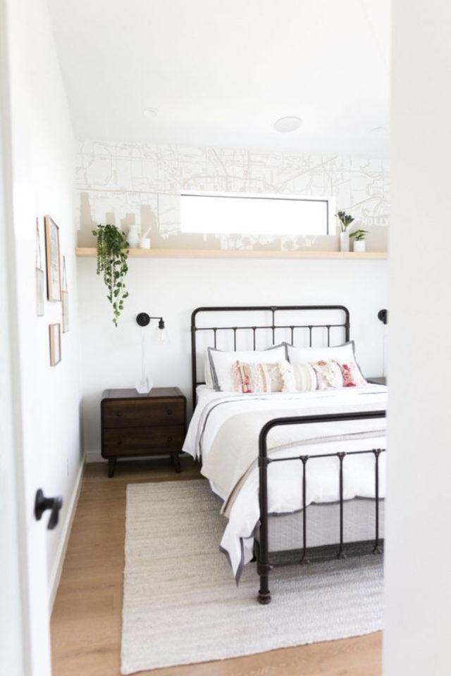 lit double metal decoration chambre moderne étagère bous plantes verte actuel contemporain