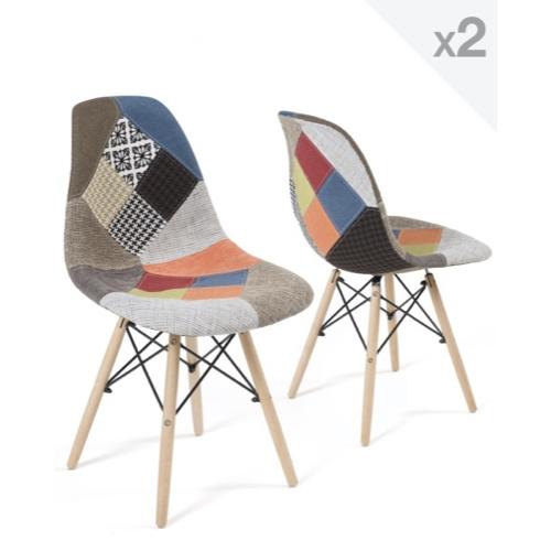 lot chaise cuisine pas cher effet patchwork tissus coloré