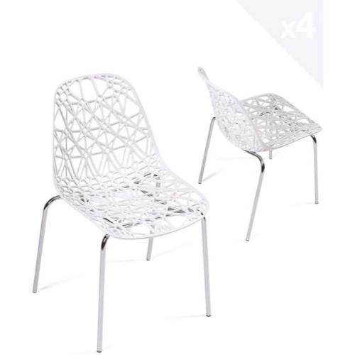lot chaise cuisine pas cher blanche plastique ajouré féminin