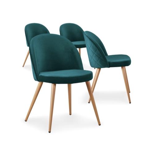lot chaise cuisine pas cher lot de 4 velours vert moderne