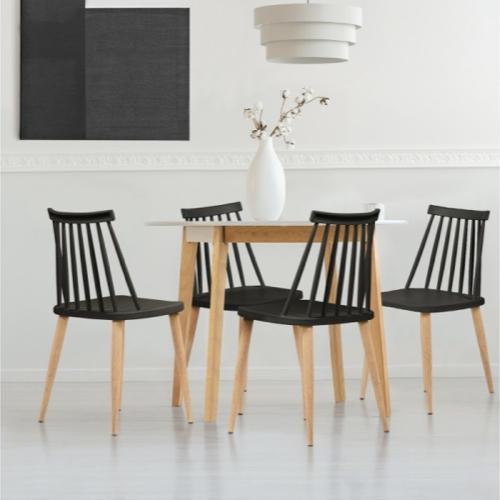 lot chaise cuisine pas cher style bistrot bois et noir
