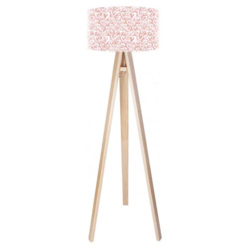 luminaire chambre enfant couleur lampadaire pied bois abat-jour rose décoration