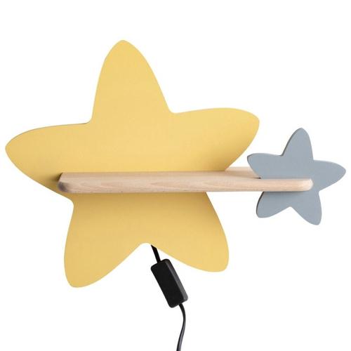 luminaire chambre enfant couleur applique murale étoile jaune et grise