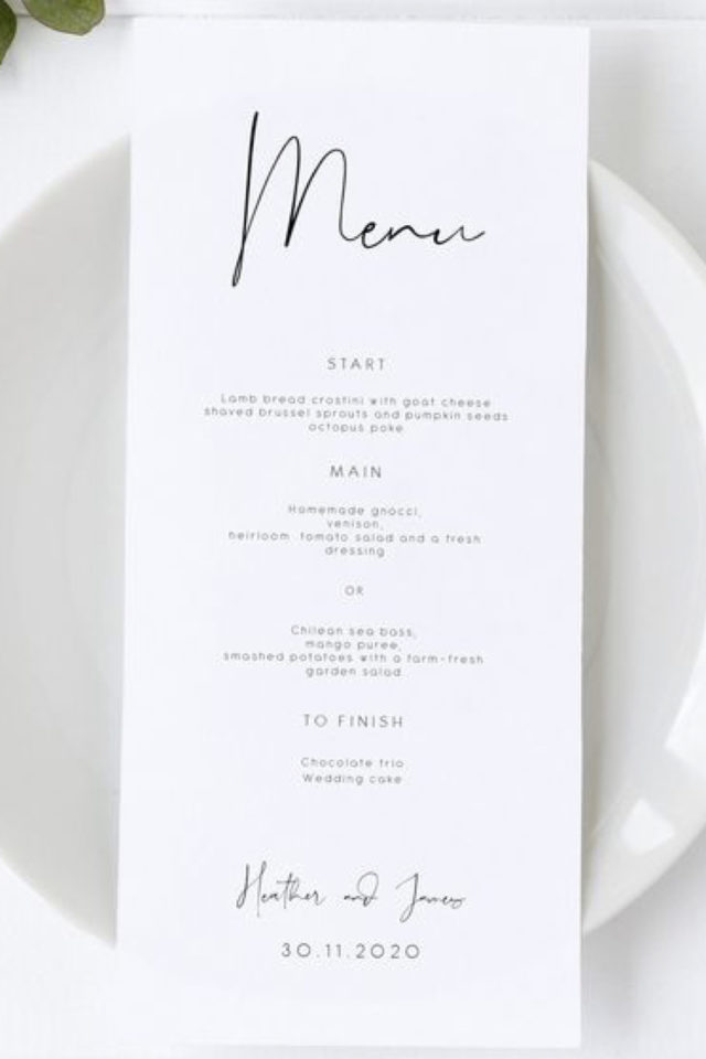 menu mariage design minimaliste exemple fond blanc typo noir simple