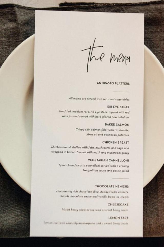 menu mariage design minimaliste exemple typo sympa et simple handmade