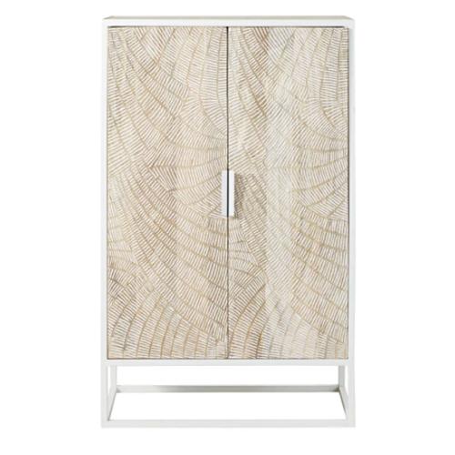 meuble chambre style bord de mer armoire rangement bois blanchi pietement métal blanc