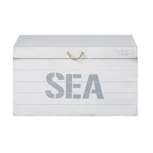 meuble chambre style bord de mer coffre de rangement bleu et blanc