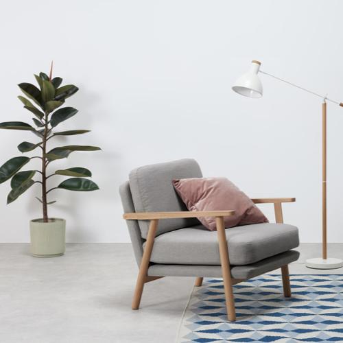 meuble deco salon slow nature fauteuil rétro gris bois simple