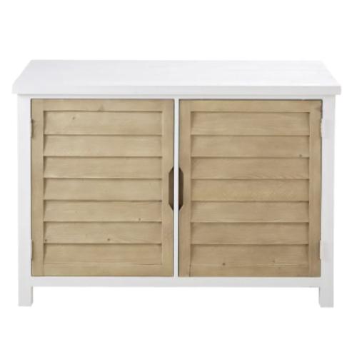 meuble salle a manger bord de mer petit buffet 2 portes bois et blanc