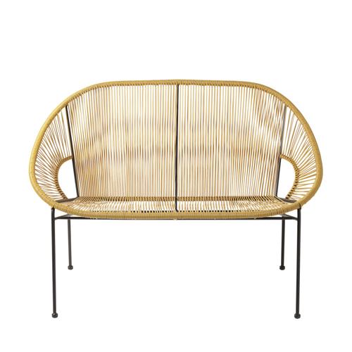 mobilier petit balcon exemple banquette canapé extérieur jardin jaune moutarde et noir